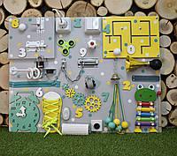 Развивающая доска Бизиборд размер 50*65  Лучший подарок бізіборд busyboard желто-мятный ксилофон, фото 1