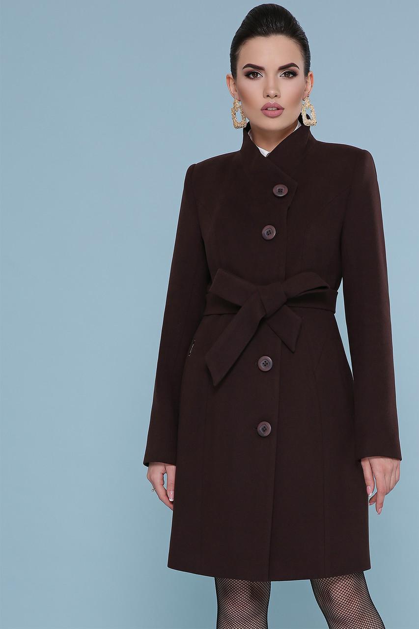 Женское короткое коричневое пальто без воротника с пояском Пальто П-333