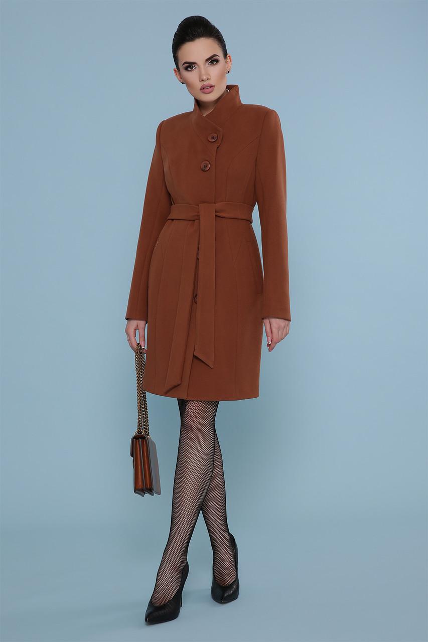 Женское короткое цвета капучино пальто без воротника с пояском Пальто П-333