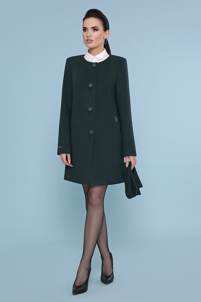 Женское короткое зеленое пальто прямого кроя без воротника Пальто П-337-К