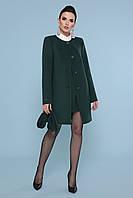 Женское короткое темно-зеленое пальто прямого кроя без воротника Пальто П-337-К