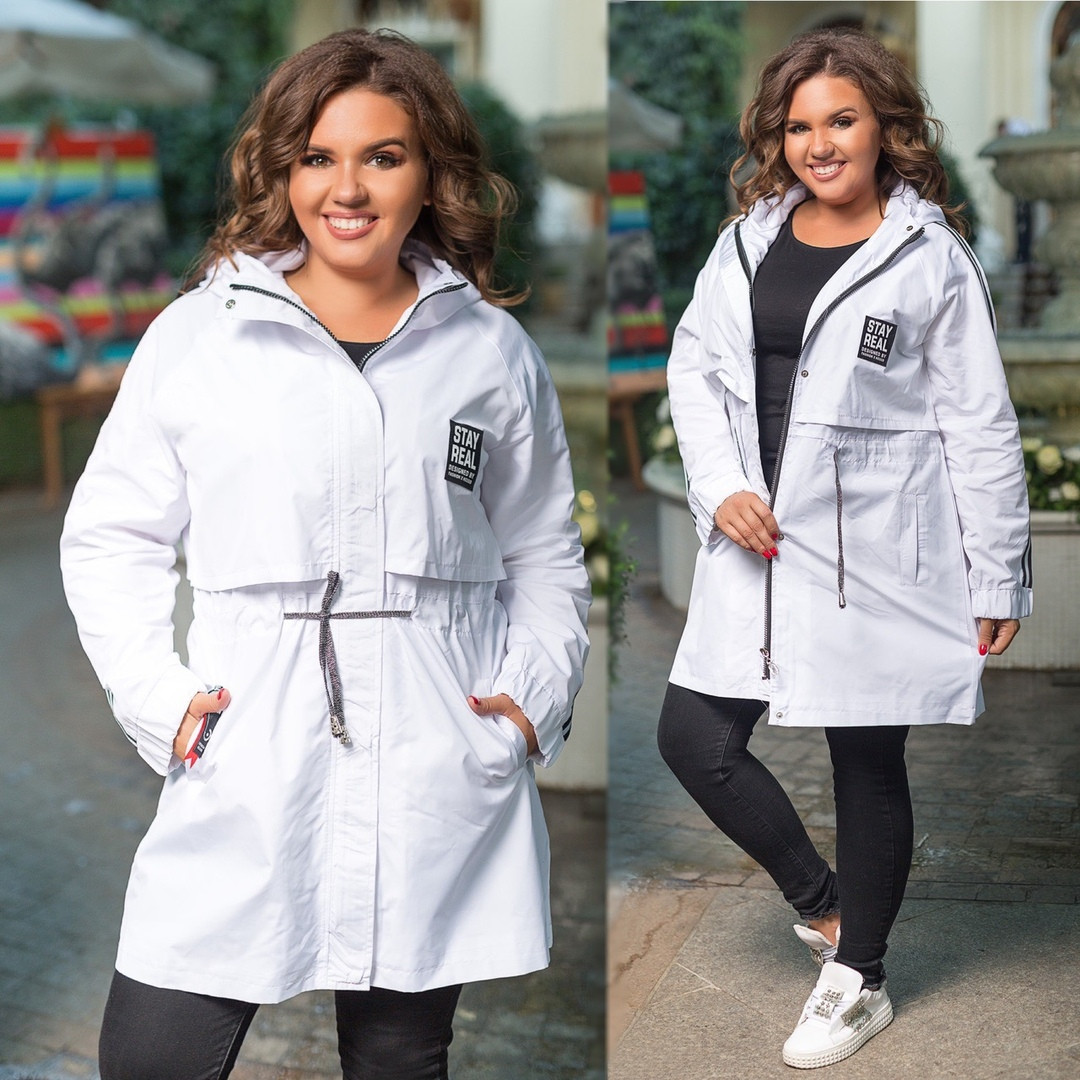 """Женская куртка-ветровка """"Канада"""" с капюшоном и карманами (большие размеры)"""
