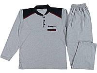 Турецкая мужская пижама 100% Хлопок, серая р. 48-50