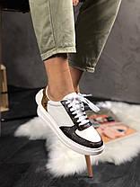 Женские кроссовки Louis Vuitton Sneakers Brown White (кеды Луи Витон) белые, фото 2