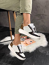 Женские кроссовки Louis Vuitton Sneakers Brown White (кеды Луи Витон) белые, фото 3