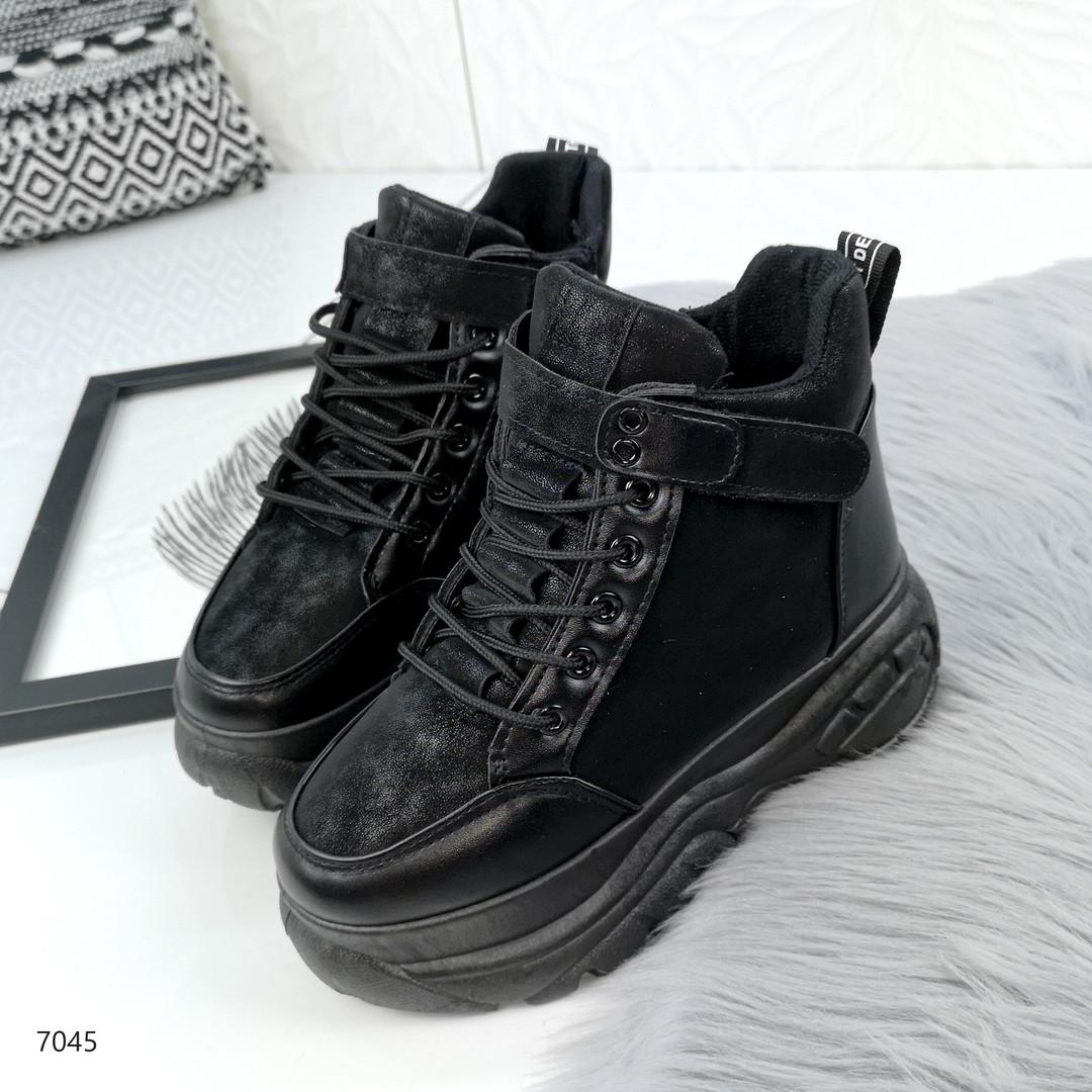 Зимние женские ботинки в черном цвете, эко замша 40 ПОСЛЕДНИЙ РАЗМЕР