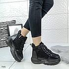 Зимние женские ботинки в черном цвете, эко замша 40 ПОСЛЕДНИЙ РАЗМЕР, фото 5