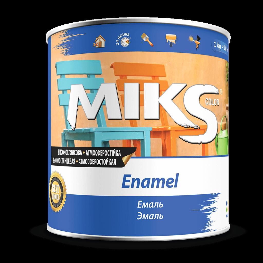 Эмаль серебристая алкидная глянцевая универсальная MIKS, 2,5кг