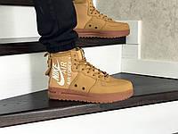 Мужские кроссовки Nike Air Force 1 (найк аир форс, нубук, горчичные), фото 1