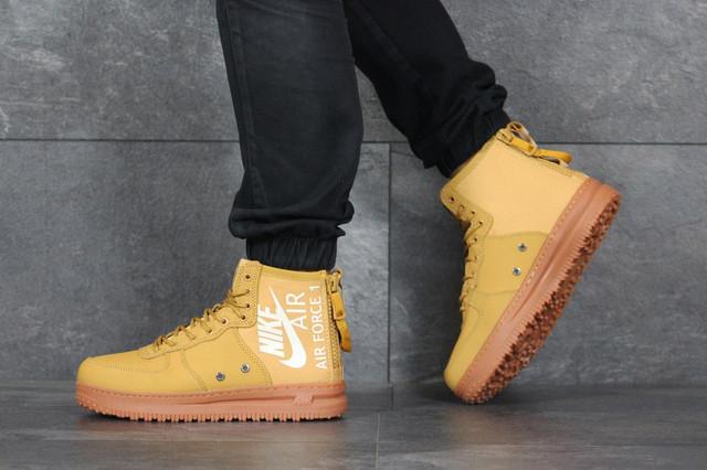 Мужские кроссовки Nike Air Force (найк аир форс, кожа, рижые)
