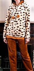 Тепла жіноча піжама, махровий домашній костюм, принт леопард, кофта на блискавці, р. М,Л,ХЛ різні кольори