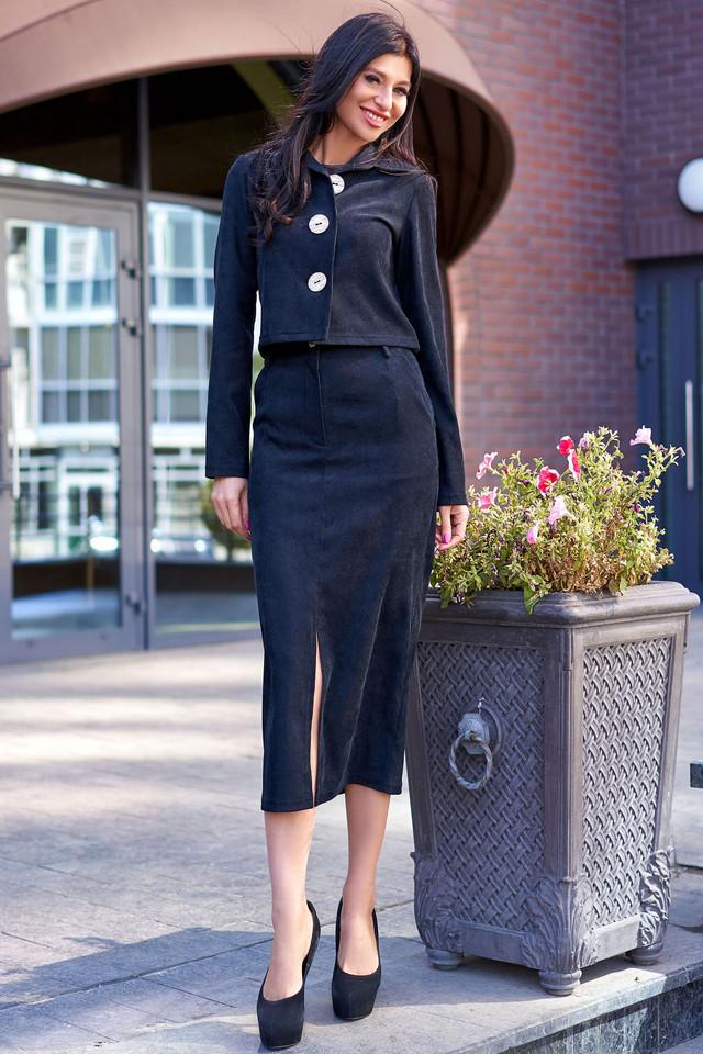 Женский костюм с юбкой, вельвет чёрный
