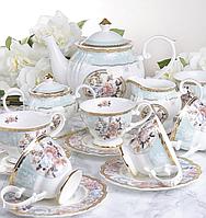 """Порцеляновий чайний набір на 6 персон """"Квітковий сад"""" 200 мл Lefard 586-322"""