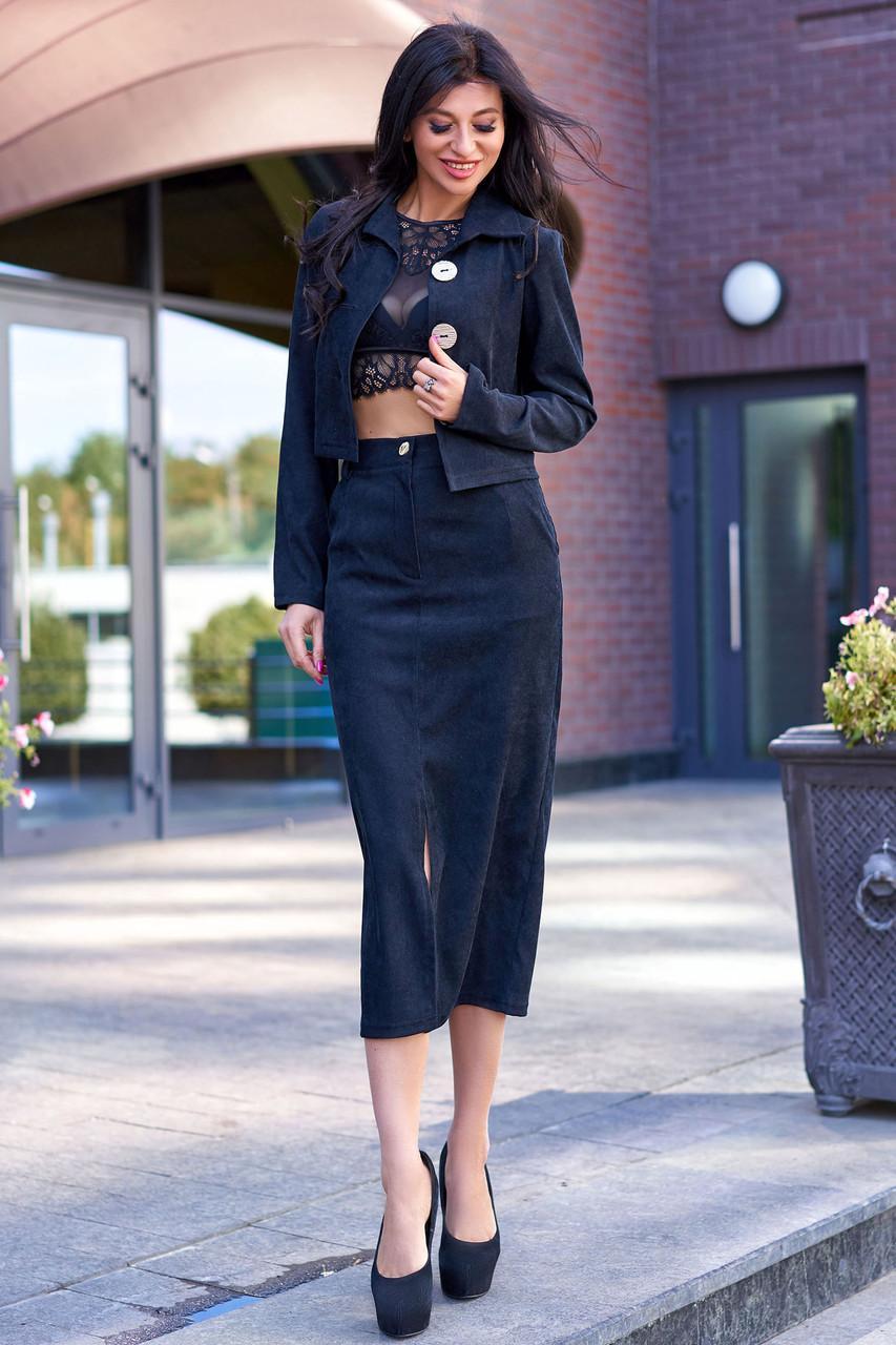 Женский юбочный костюм, р. от 42 до 50, вельвет чёрный