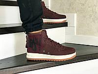 Мужские кроссовки Nike Air Force 1 (найк аир форс, нубук, бордовые)
