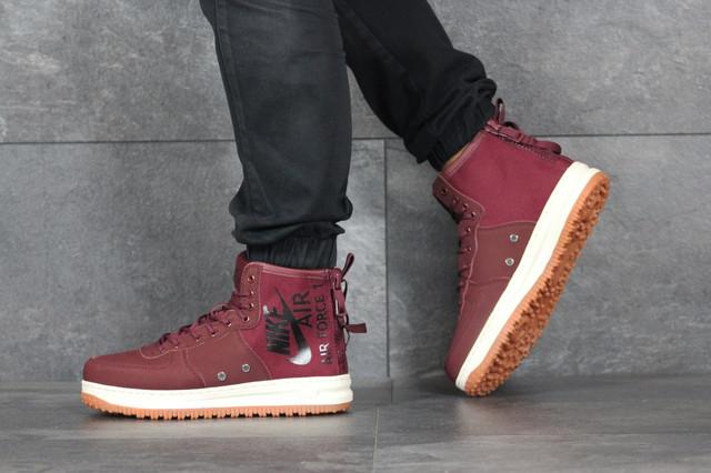 Мужские кроссовки Nike Air Force (найк аир форс, кожа, бордовые)