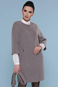 Короткое женское серое пальто с рукавами три четверти на кнопках с пояском Пальто П-355