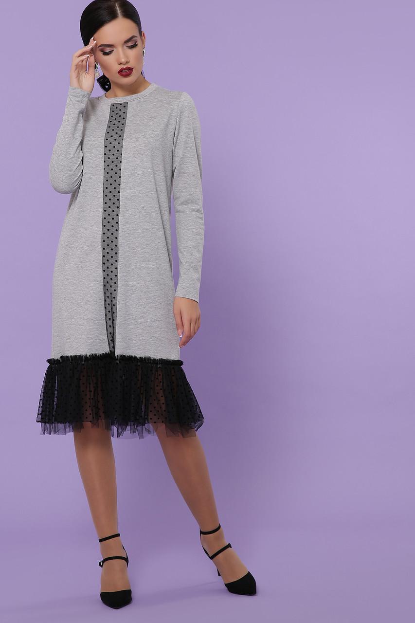 Женское трикотажное серое  платье с пышной вставкой с сетки в горошек  платье Касия д/р