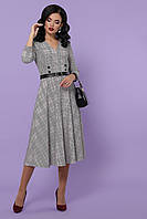 Женское серое платье в клетку с V-образным вырезом горловины платье Киана д/р