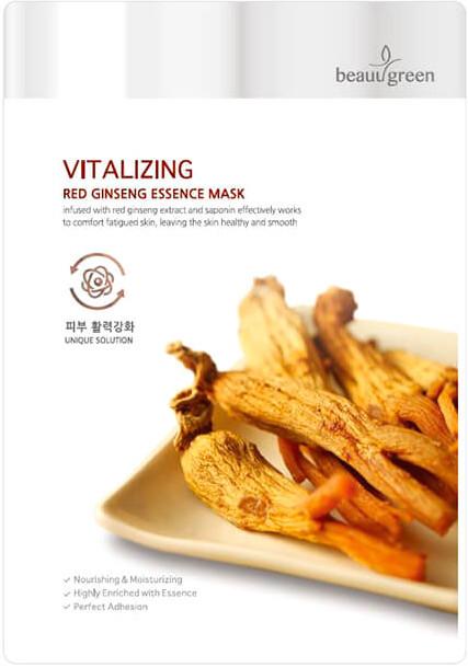 Маска тканевая с женьшенем BeauuGreen Red Ginseng Essence Mask 23 мл