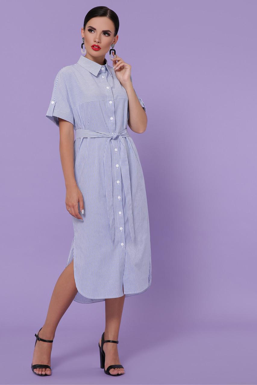 Летнее женское платье-рубашка в синюю полоску платье-рубашка Дарья-3 к/р