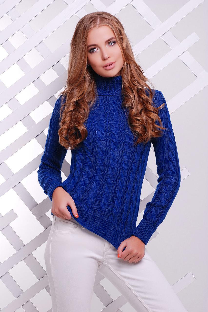 Вязаный женский свитер под горло с узором в косичку Свитер 134 цвет электрик