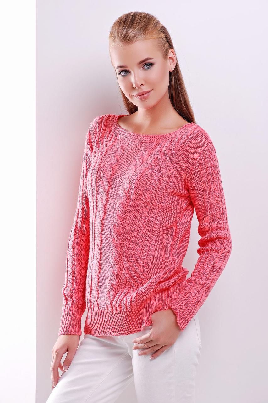 Модный женский теплый вязаный свитер в мелкие косы однотонный кораловый Свитер 15