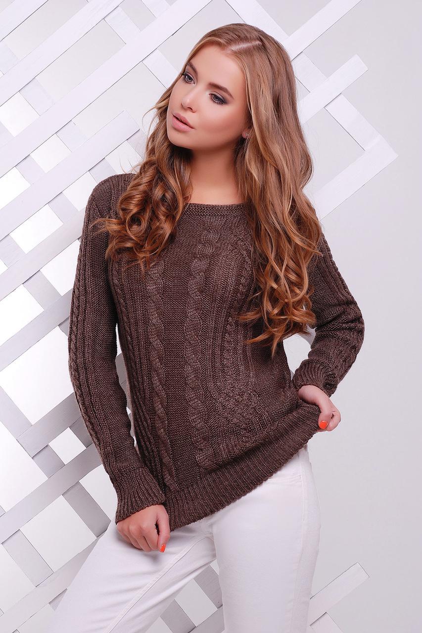 Модный женский теплый вязаный свитер в мелкие косы однотонный  Свитер 15 цвет капучино