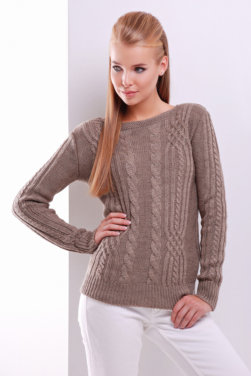Модный женский теплый вязаный свитер в мелкие косы однотонный голубой Свитер 15 коричневый