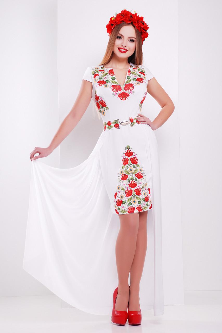 Белое прямое платье до колен со съемным шифоновым шлейфом принт Фольклор платье Аркадия б/р