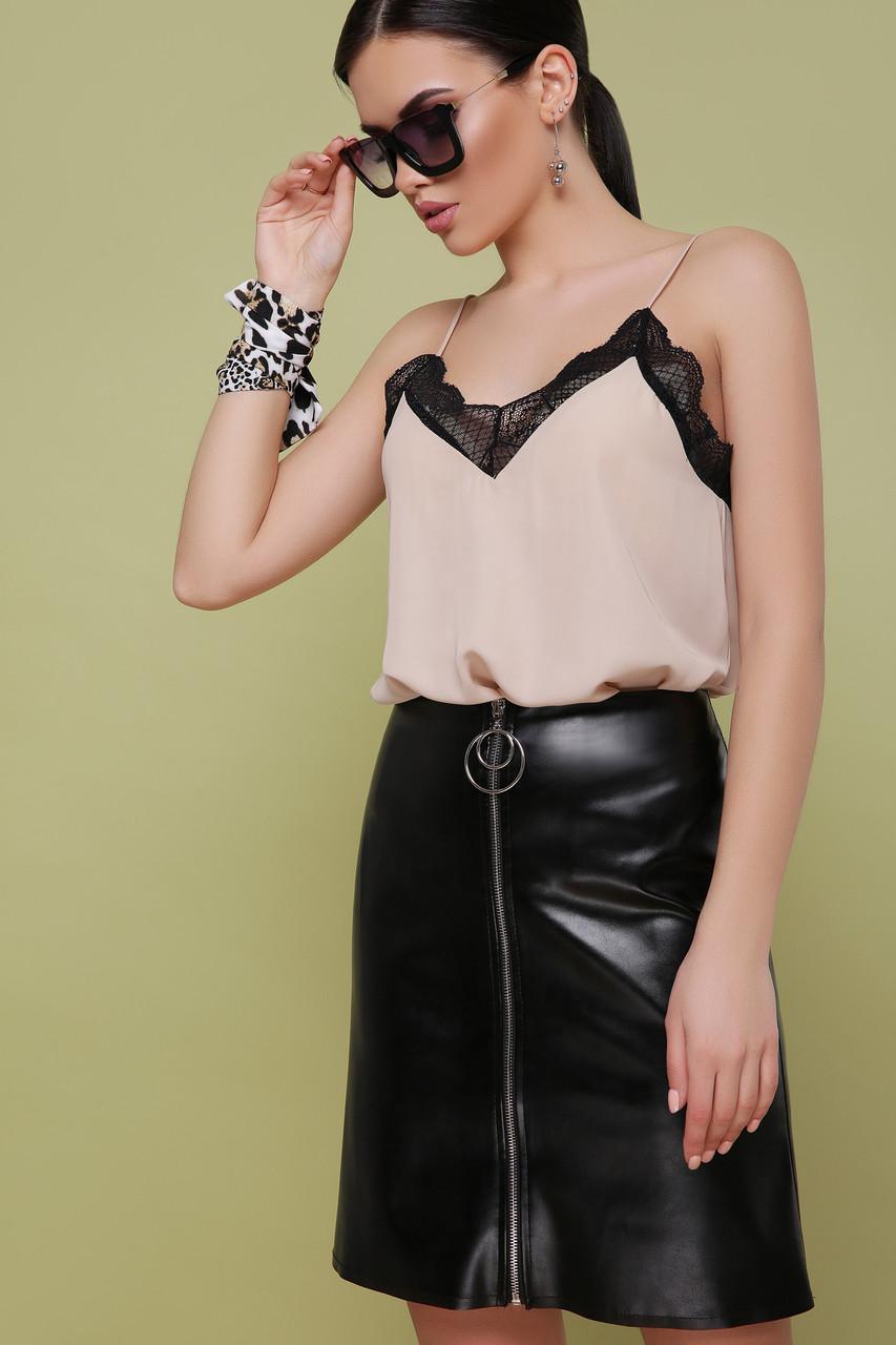 Классическая модная женская черная кожаная юбка с молнией спереди юбка мод. №35