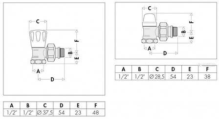 """Комплект кранов радиаторных CALEFFI 1/2"""" угловой (411431), фото 2"""