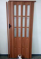 Двери гармошка полуостекленная. Более 25 цветов. Межкомнатные двери гармошка ПВХ. 86х203. Цвет- темная вишня