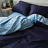 Постільна білизна євро поплін PF024 темно-синій/блакитний Бавовняні традиції
