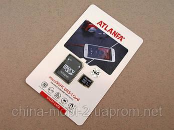 Карта памяти 16ГБ microSDHC Atlanfa 16Gb class 10 + SD adapter  флешка Атланфа microSDTF , фото 2
