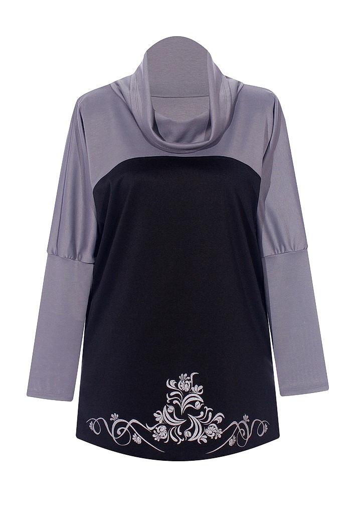 Женская кофта с воротником хомут Винтаж - серый верх
