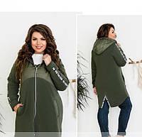 / Размеры 50-52,54-56,58-60,62-64 / Женская стильная тёплая куртка батал / 8-185-Хаки