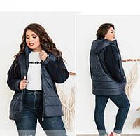 / Размеры 52-54,56-58,60-62 / Женская тёплая куртка больших размеров / 8-186-Синий