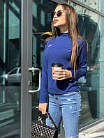 """Женская трикотажная кофта синего цвета с длинным рукавом и вышивкой буквы """"М"""""""