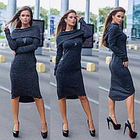 Женское ангоровое платье модной длины