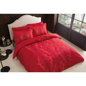 Постельное белье Tac сатин Delux - Mauna kirmizi v04 красный евро