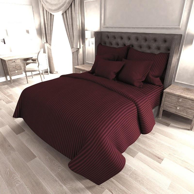 Высококачественное постельное белье из Страйп Сатина Бордо Двуспальное