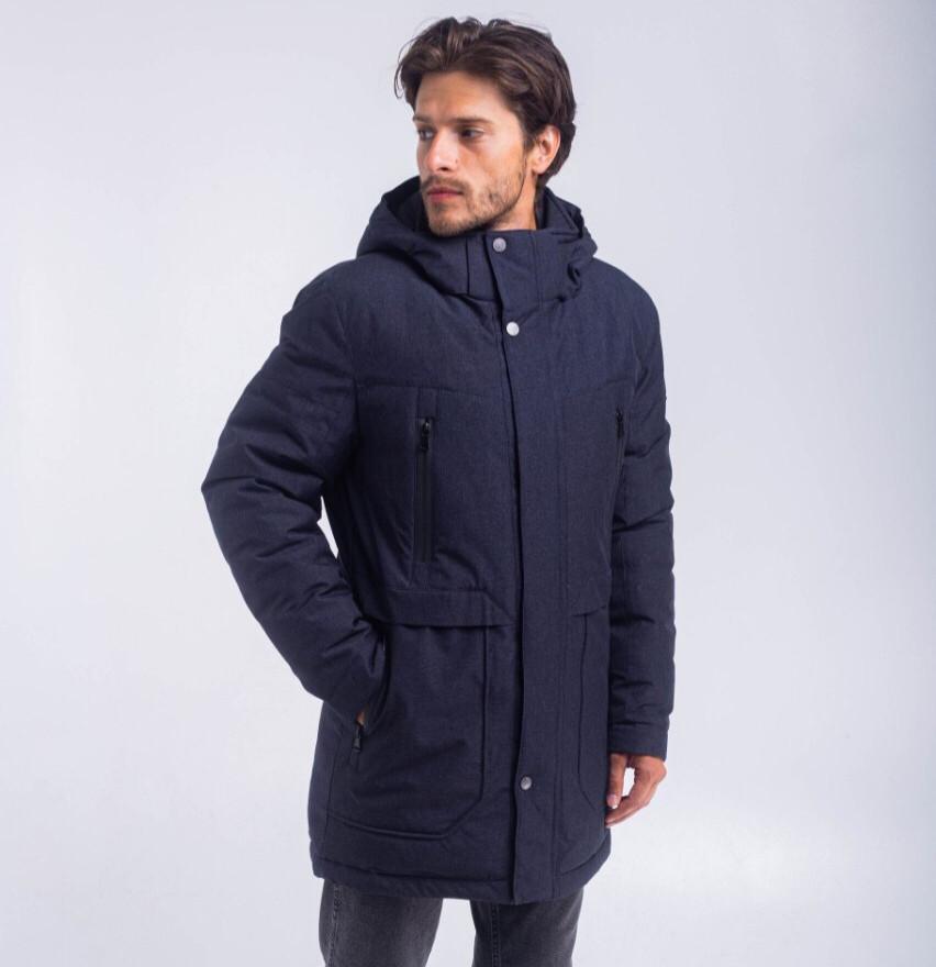 Мужская зимняя удлиненная куртка большого размера