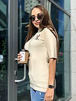 Женская трикотажная кофта рубчик молочного цвета с вышивкой Багз Банни и рукавом 3/4, размер 42/46