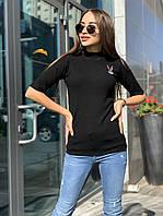 Женская трикотажная кофта рубчик черного цвета с вышивкой Багз Банни и рукавом 3/4, размер 42/46