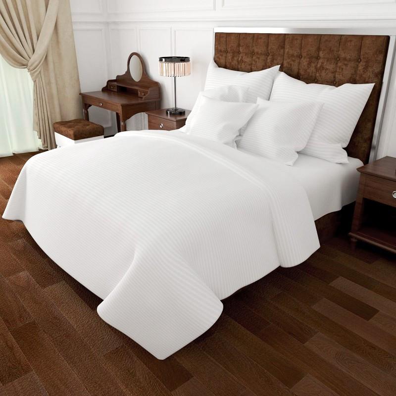 Комплект постельного белья из Страйп сатина  Белый от производителя 100% Хлопок