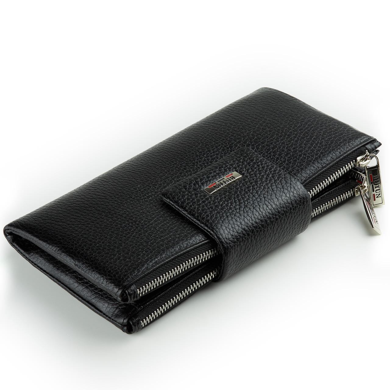 Большой женский кошелек BUTUN 507-004-001 кожаный черный