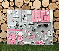 Развивающая доска Бизиборд Модель 50*65 с телефонной трубкой!  бізіборд розовый