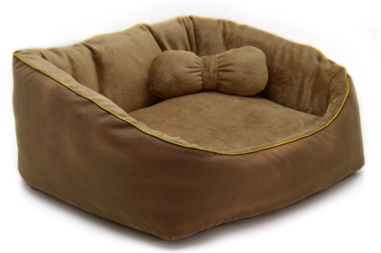 Лежанка для собак и котов Замш коричневый