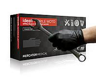 Супер прочные черные нитриловые перчатки Moto с удлиненной манжетой Mercator Medical Ideall Nitrile (100 шт)